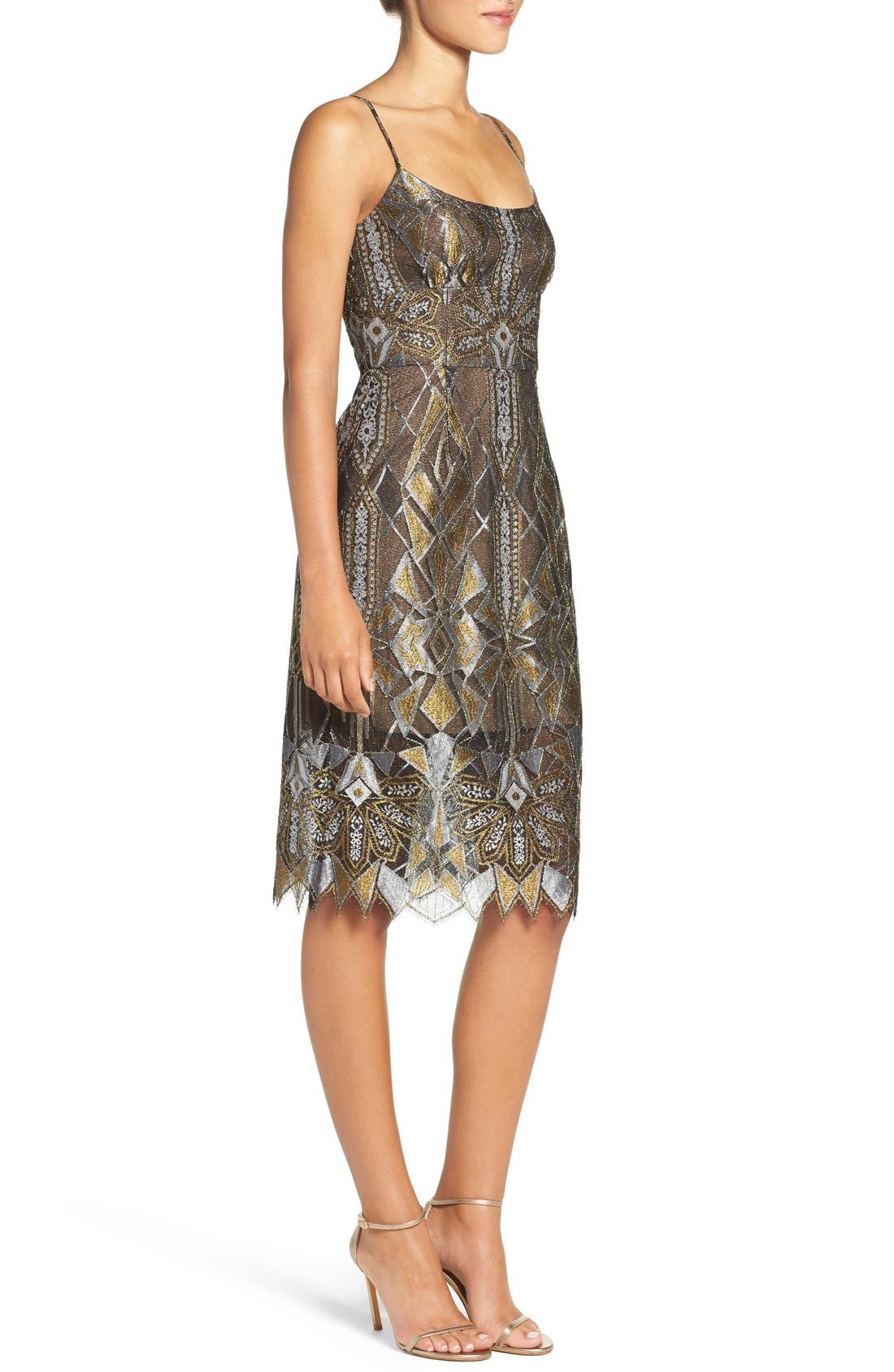 Alternate Image 3  - BCBGMAXAZRIA 'Alese' Metallic Lace Slipdress