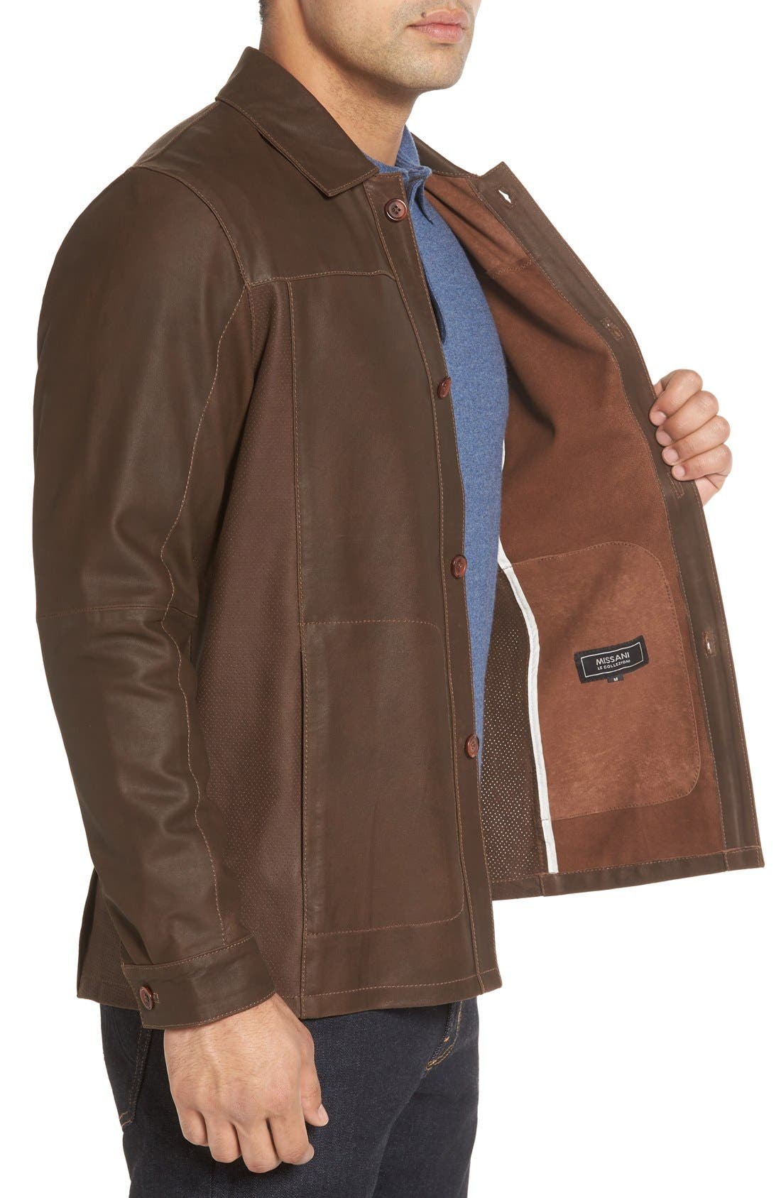 Unlined Leather Jacket,                             Alternate thumbnail 3, color,                             Brown