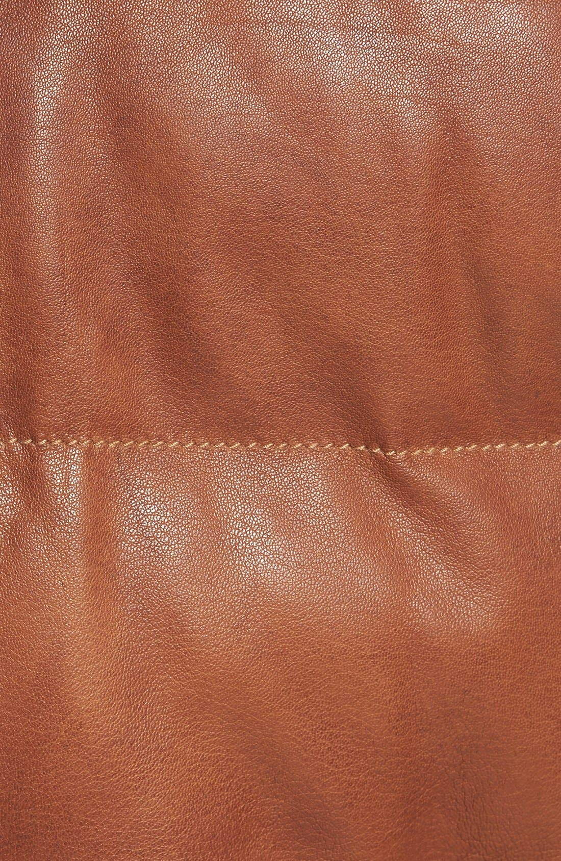 Quilted Leather Vest with Removable Genuine Shearling Collar,                             Alternate thumbnail 5, color,                             Cognac