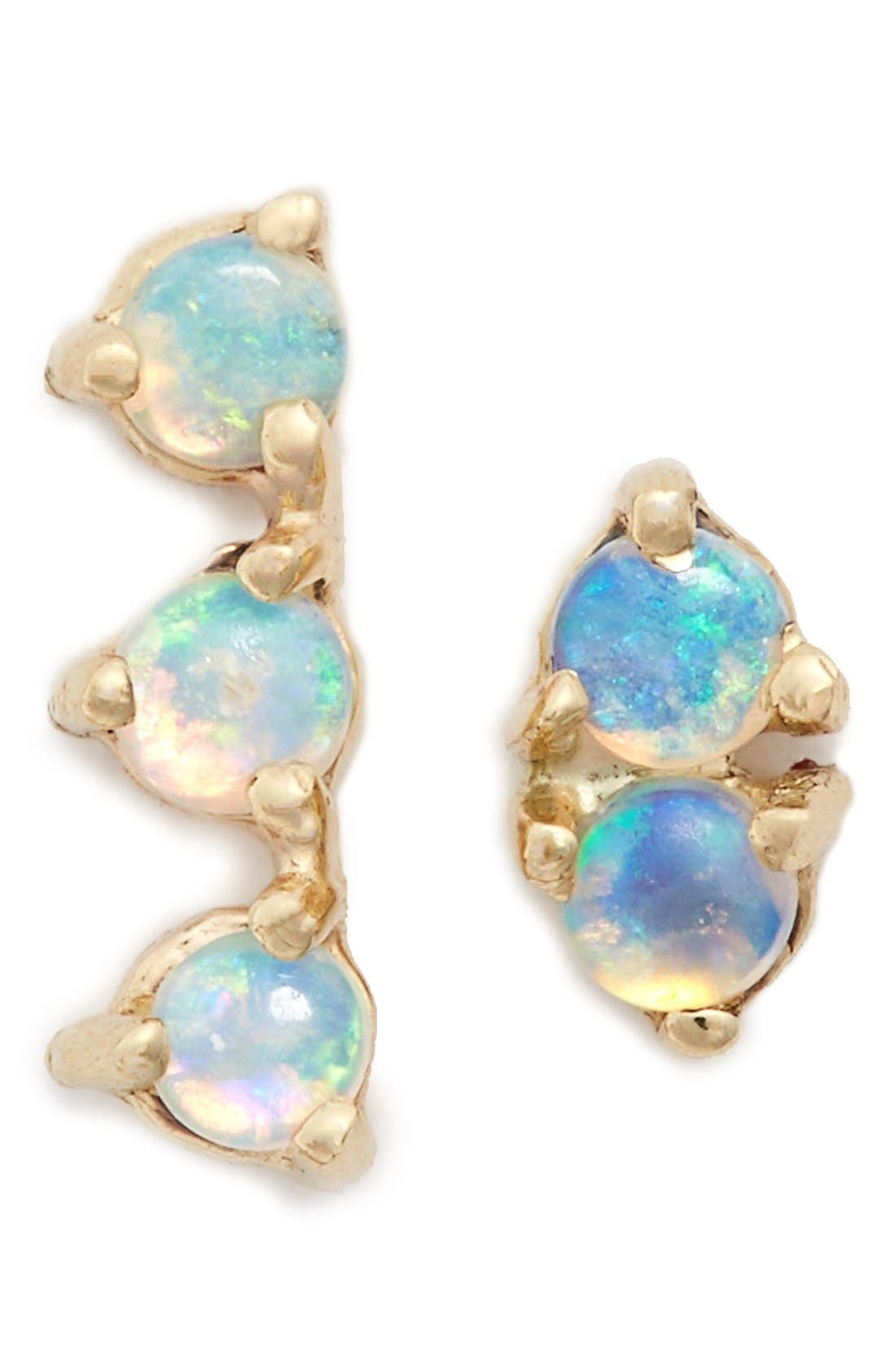 'Counting Collection - Three-Step & Two-Step' Opal Earrings,                         Main,                         color, Yellow Gold