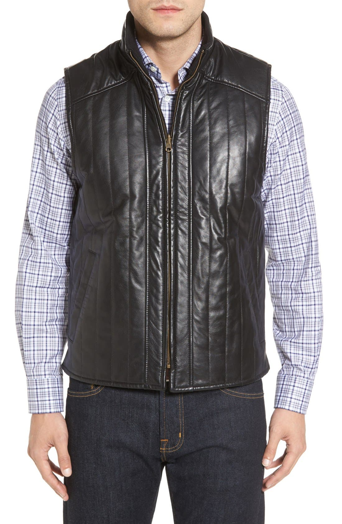 Puffy Leather & Wool Blend Reversible Vest,                         Main,                         color, Black