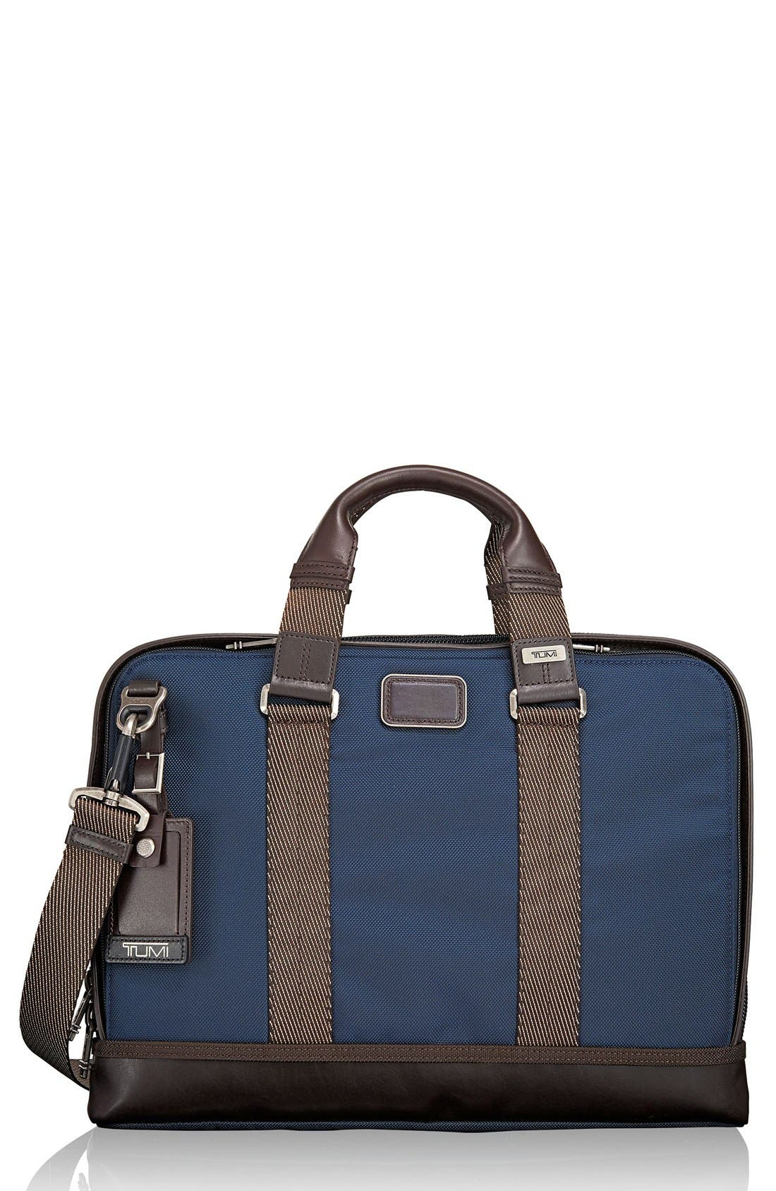 Alpha Bravo - Andrews Slim Briefcase,                         Main,                         color, Navy