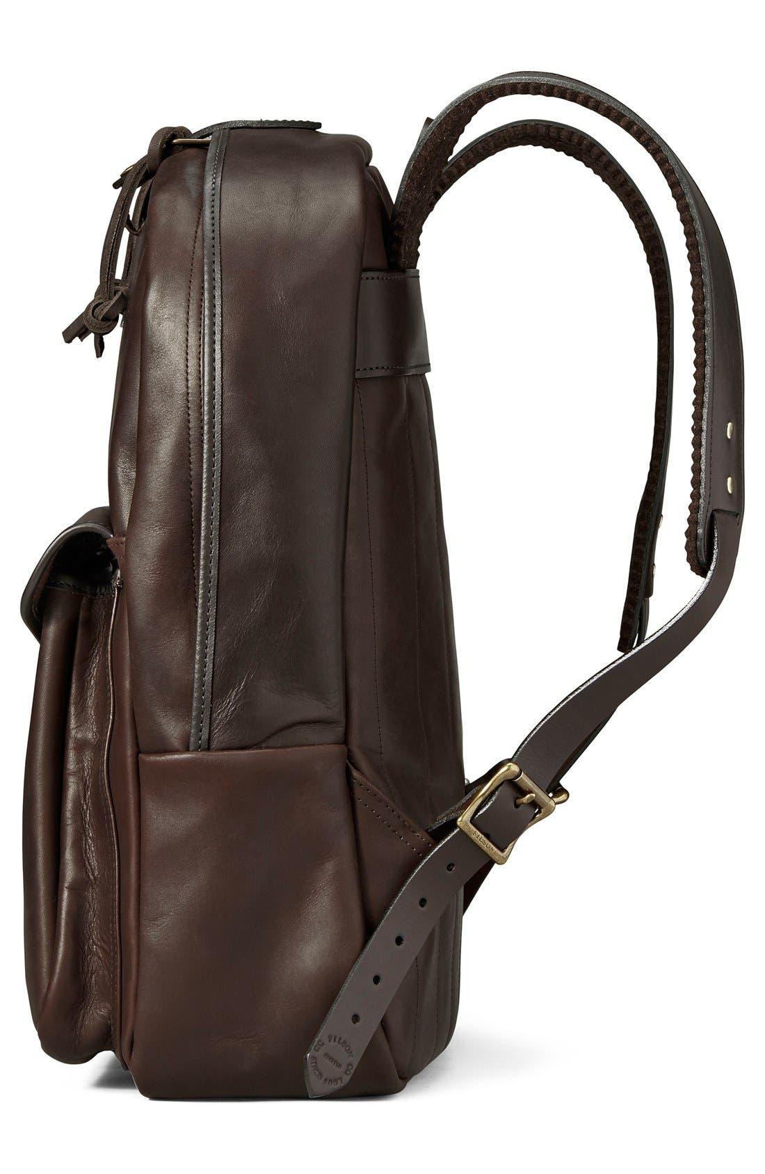 Weatherproof Leather Backpack,                             Alternate thumbnail 4, color,                             Sierra Brown