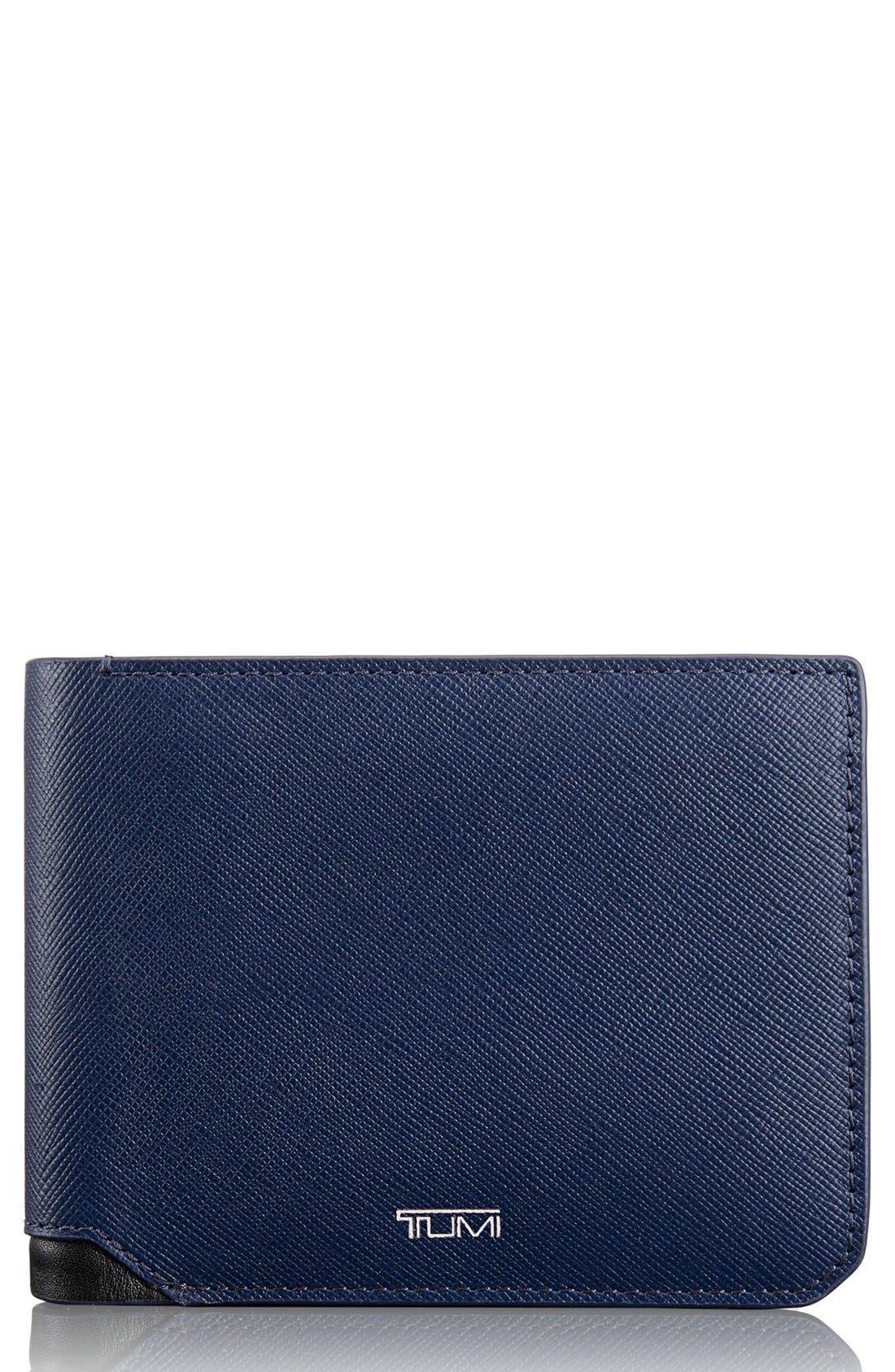Leather Wallet,                         Main,                         color, Indigo