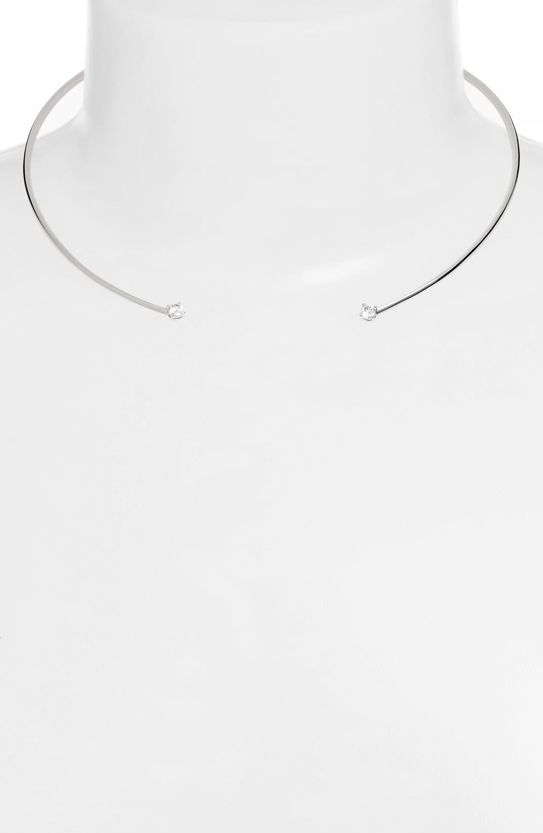 Cubic Zirconia Collar Necklace,                             Alternate thumbnail 2, color,                             Silver