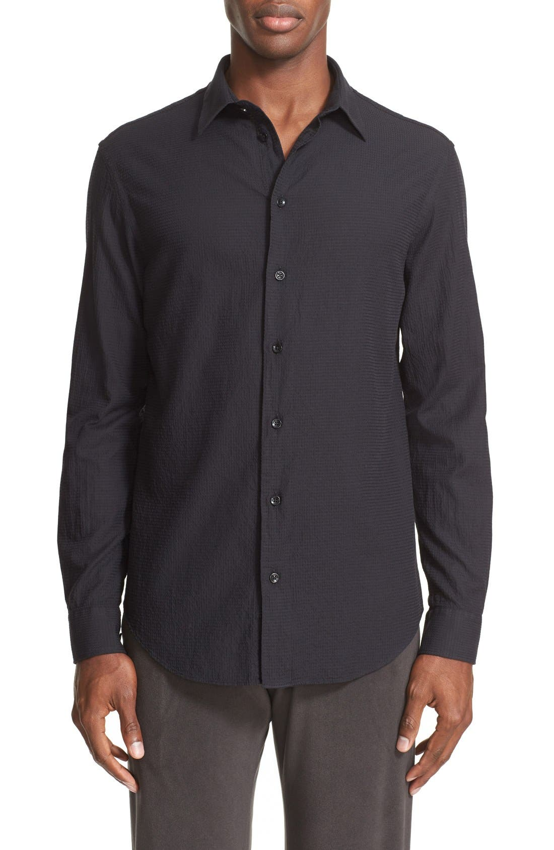 ARMANI COLLEZIONI Trim Fit Textured Sport Shirt