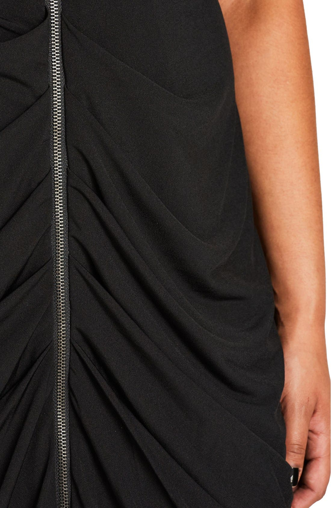 Sleeveless Ruched Zip Front Dress,                             Alternate thumbnail 3, color,                             Black