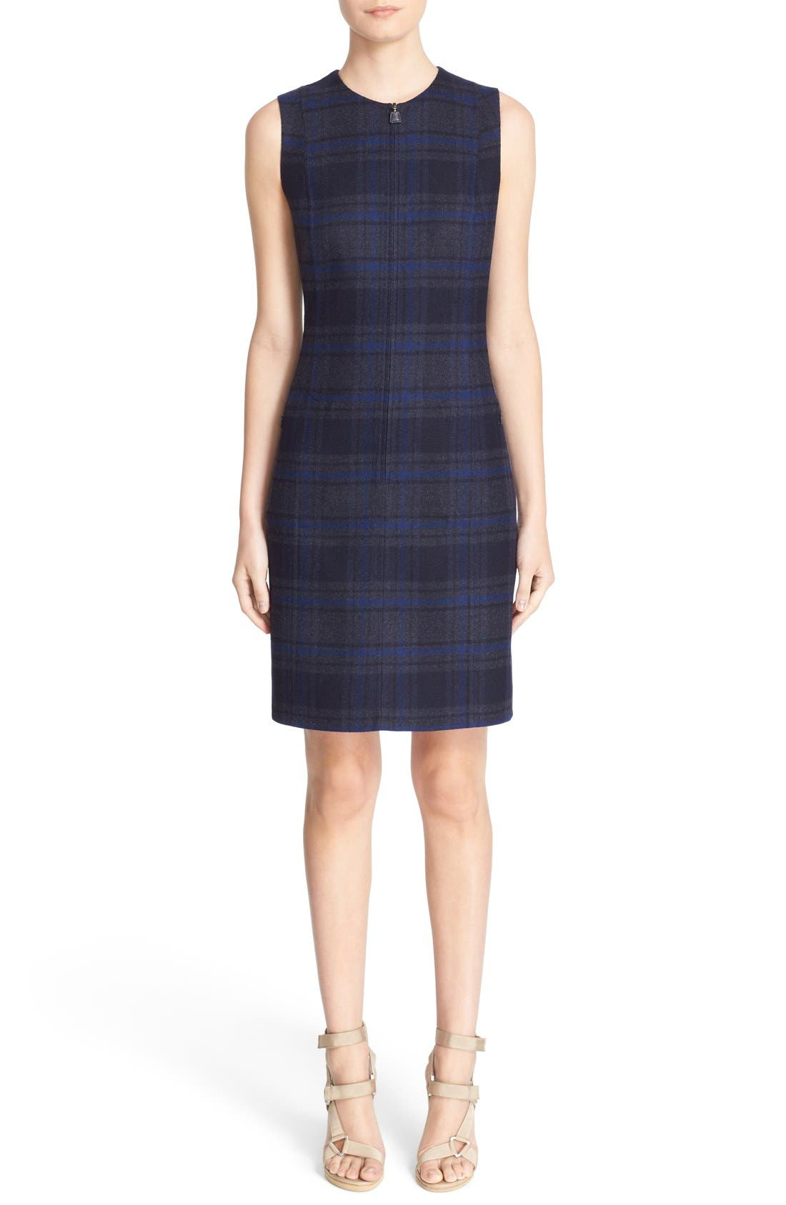 Main Image - Akris Reversible Front Zip Double Face Wool Sheath Dress