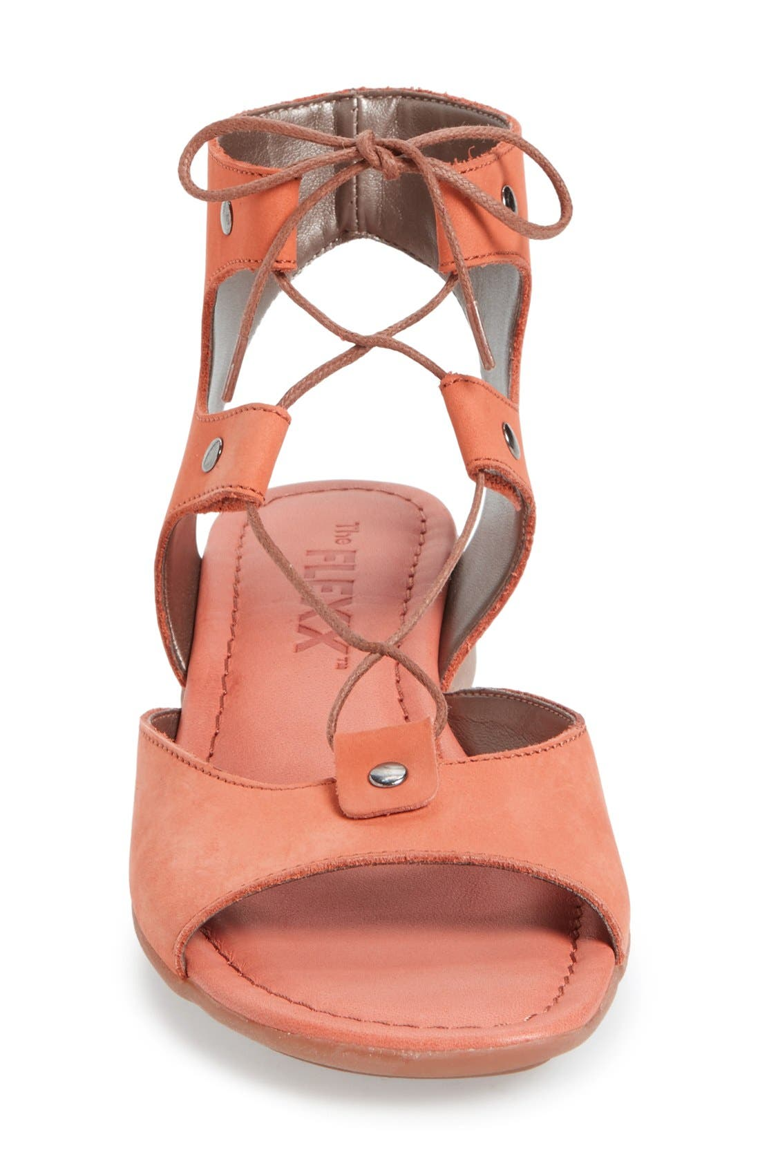 Lace-Up Gladiator Sandal,                             Alternate thumbnail 3, color,                             Heat Nubuck Leather