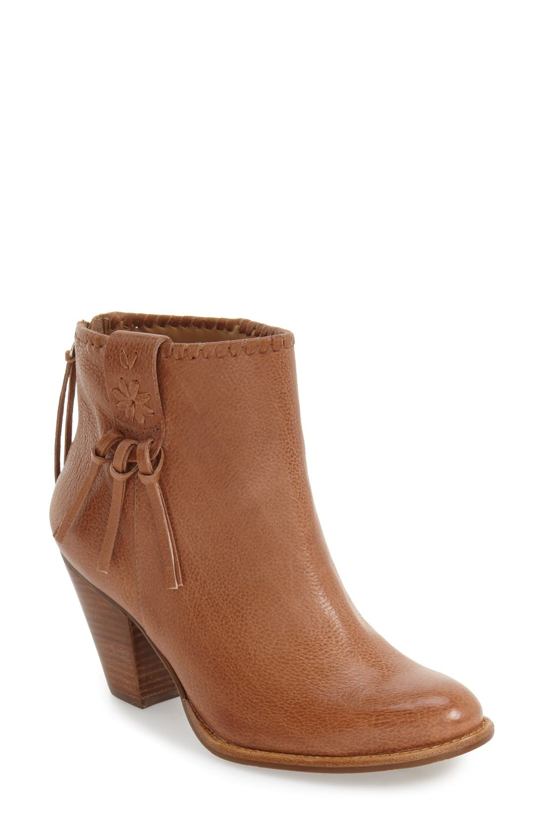 'Greer' Bootie,                             Main thumbnail 1, color,                             Oak Leather