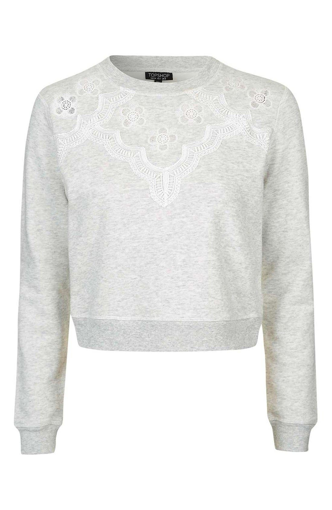 Alternate Image 4  - Topshop Crochet Daisy Sweatshirt