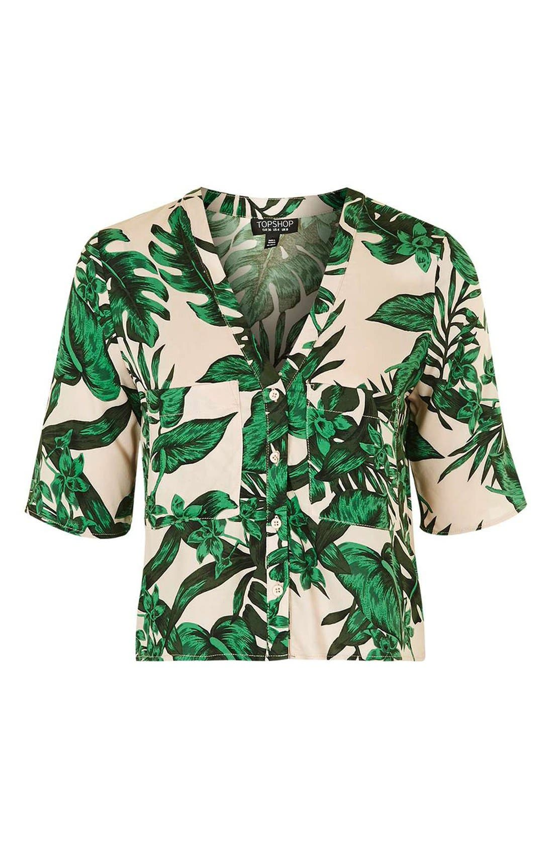 Alternate Image 4  - Topshop 'Holly' Tropical Print Short Sleeve Shirt