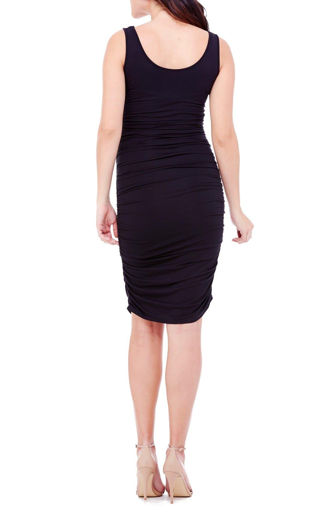 Shirred Maternity Tank Dress,                             Alternate thumbnail 2, color,                             Black
