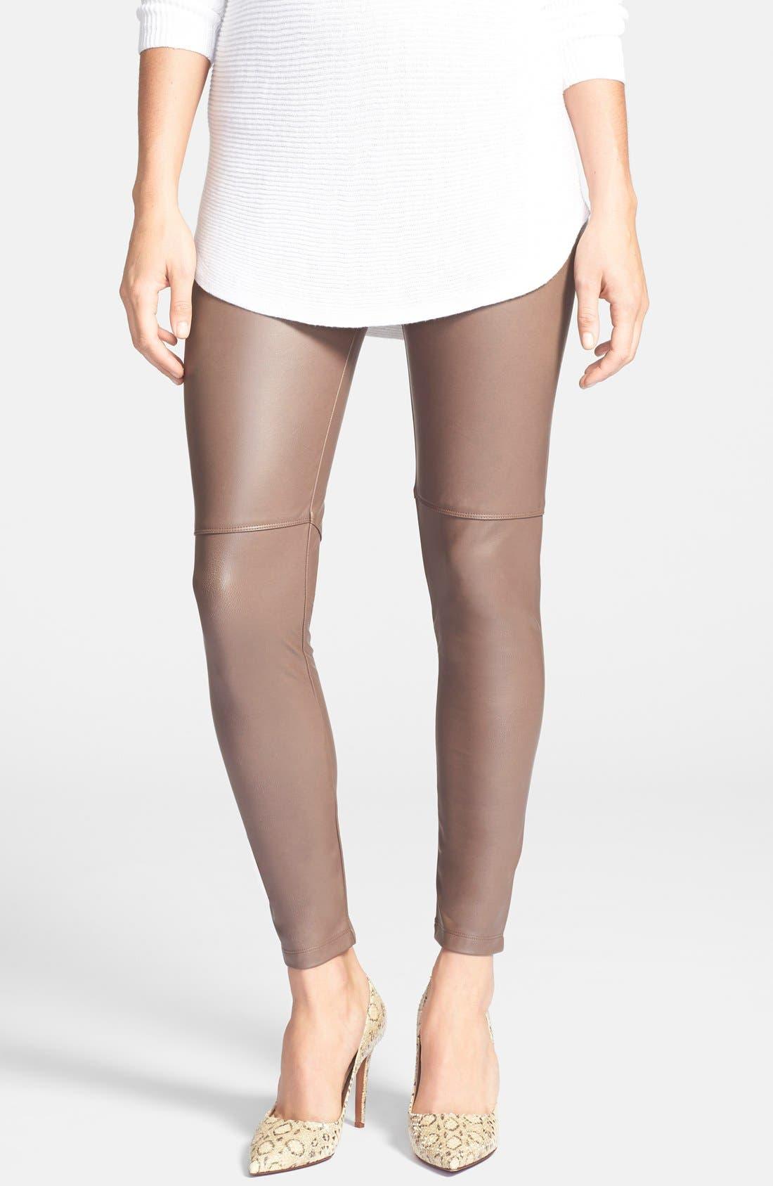 Faux Leather Leggings,                         Main,                         color, Beige