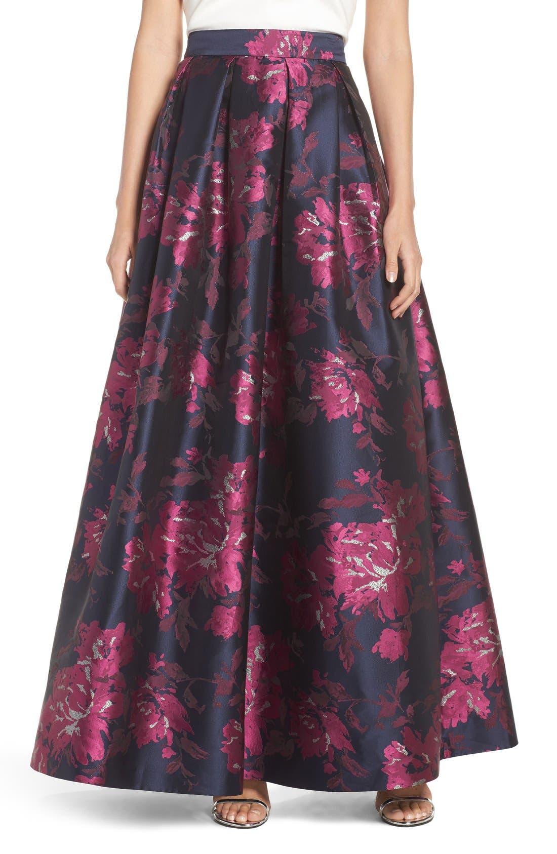 Alternate Image 1 Selected - Eliza J Metallic Jacquard Ball Skirt