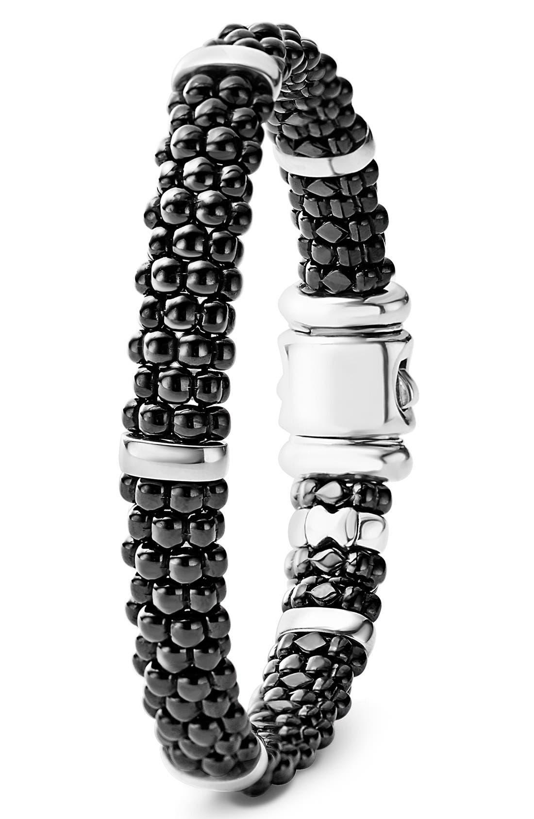 Black Caviar Station Bracelet,                             Alternate thumbnail 2, color,                             Black/ Silver/ Gold