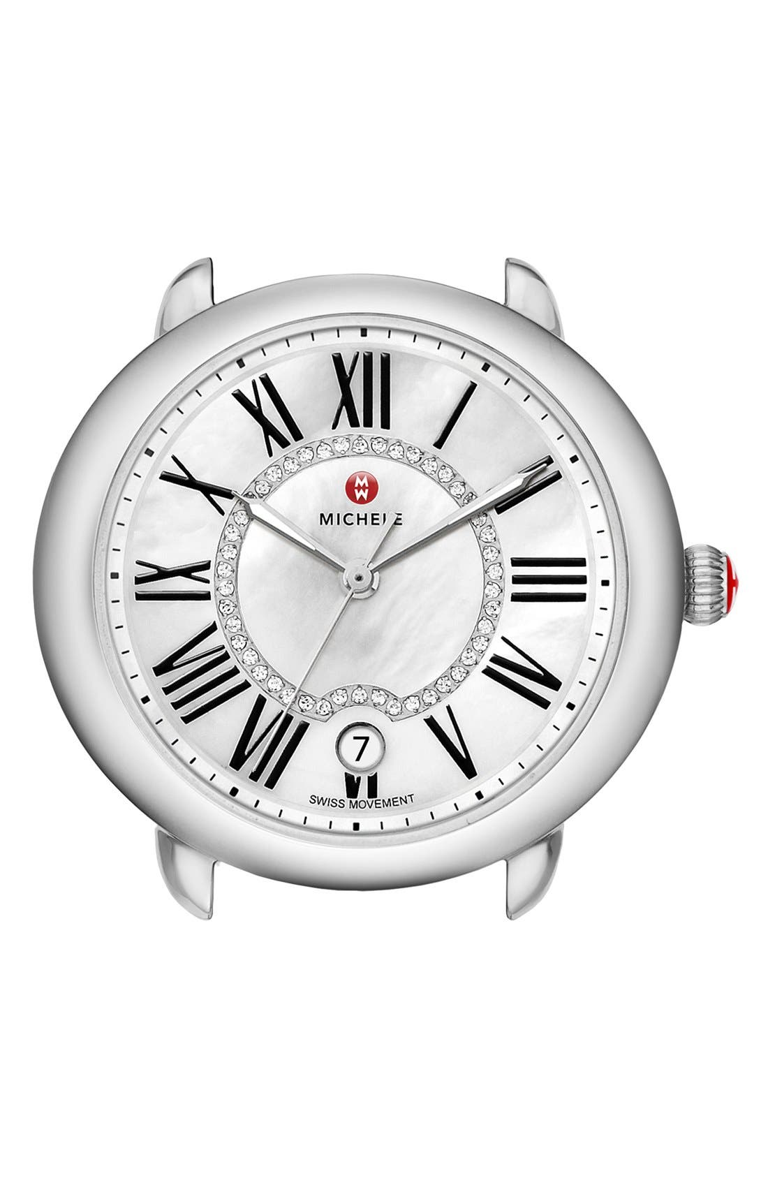 Serein 16 Diamond Dial Round Watch Head, 34mm x 36mm,                         Main,                         color, Silver