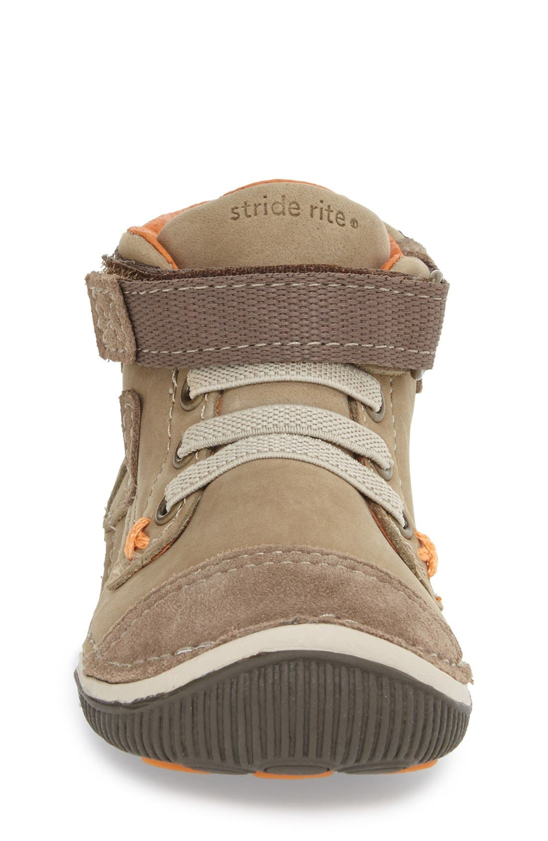 'Garrett' High Top Bootie Sneaker,                             Alternate thumbnail 3, color,                             Brown