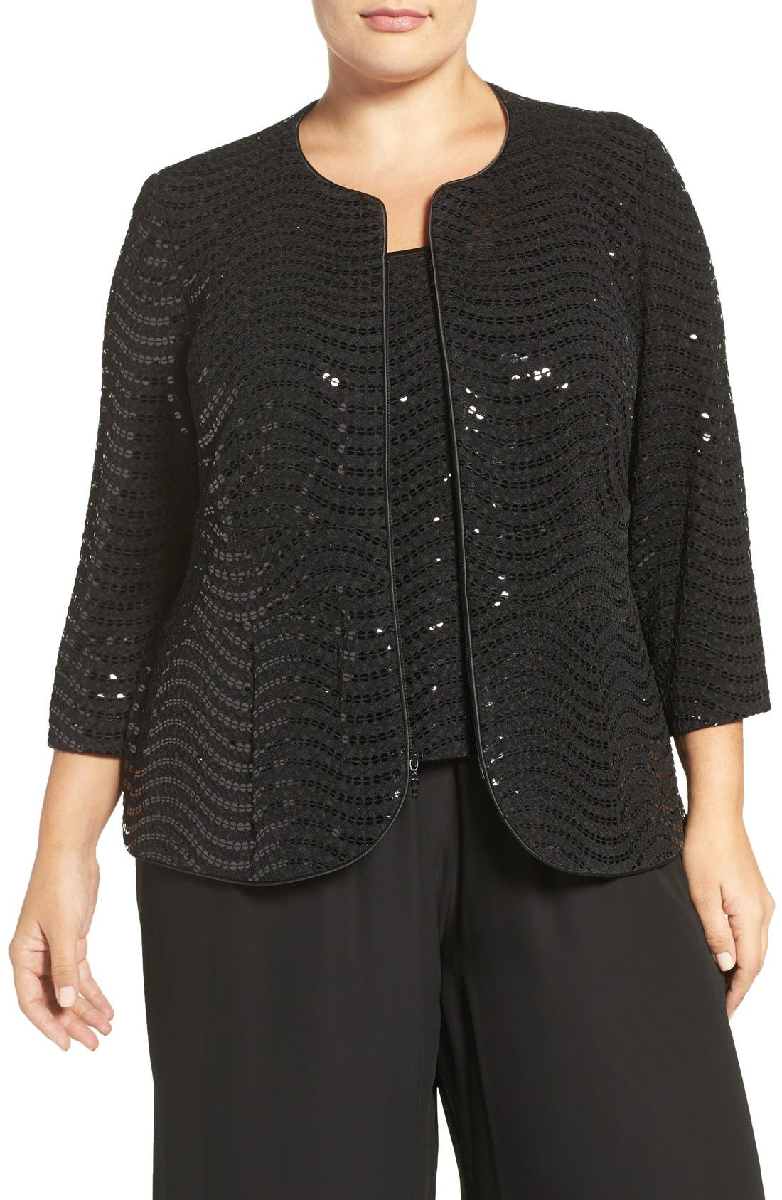 Alternate Image 1 Selected - Alex Evenings Sequin Three-Quarter Sleeve Twinset (Plus Size)