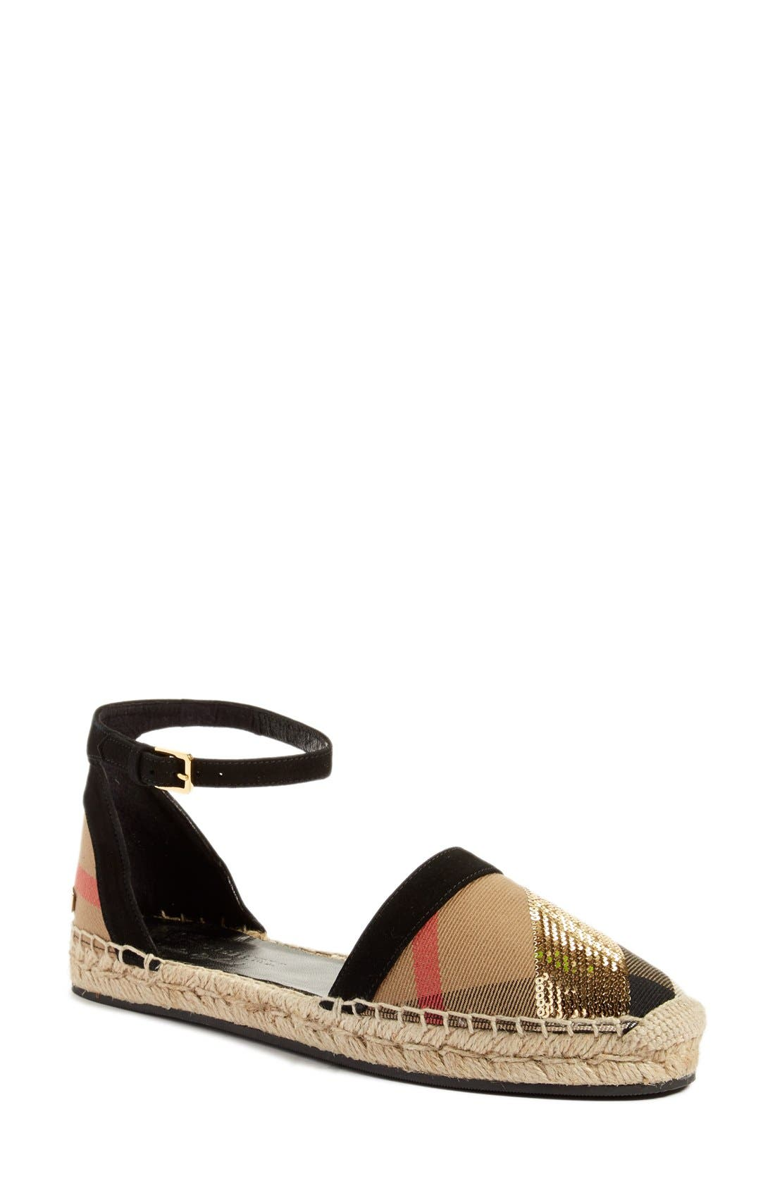 Alternate Image 1 Selected - Burberry 'Abbingdon' Ankle Strap Espadrille Sandal (Women)