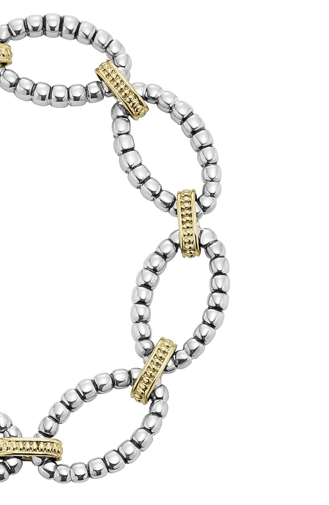 Two-Tone Link Bracelet,                             Alternate thumbnail 3, color,                             Silver/ Gold