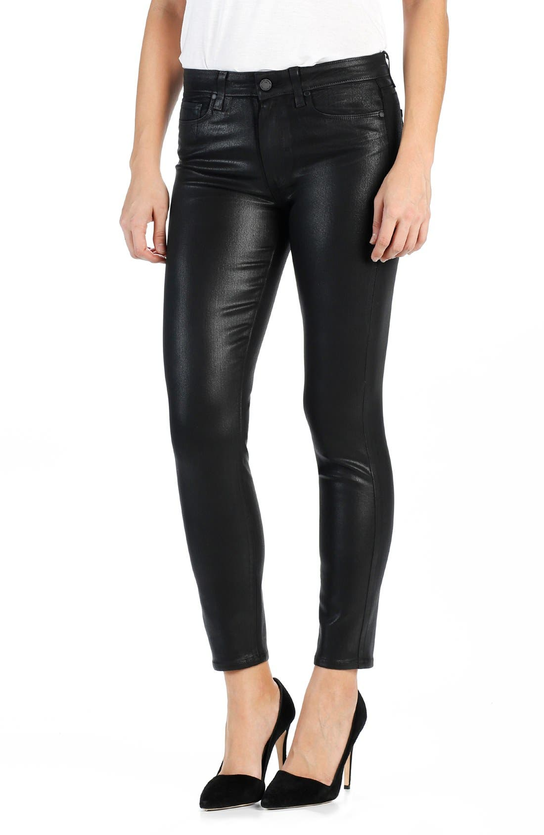 High waisted black coated skinny jeans