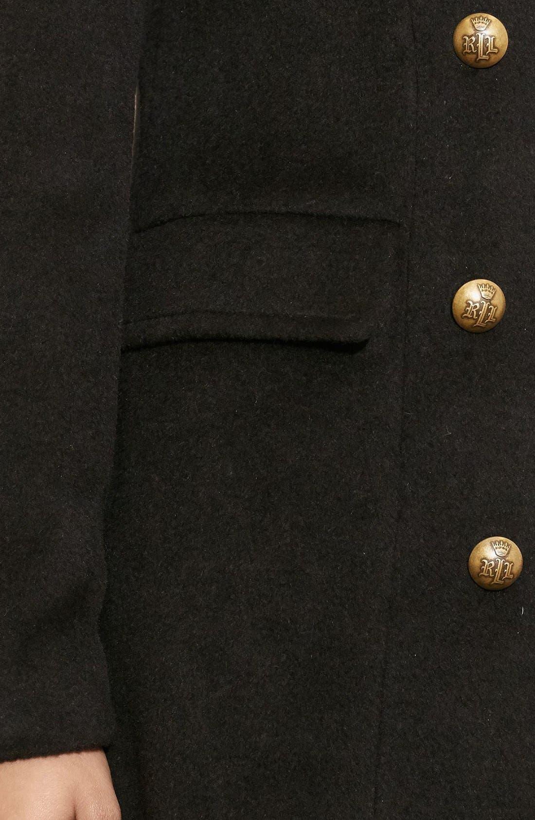 Alternate Image 4  - Lauren Ralph Lauren Skirted Wool Blend Military Coat
