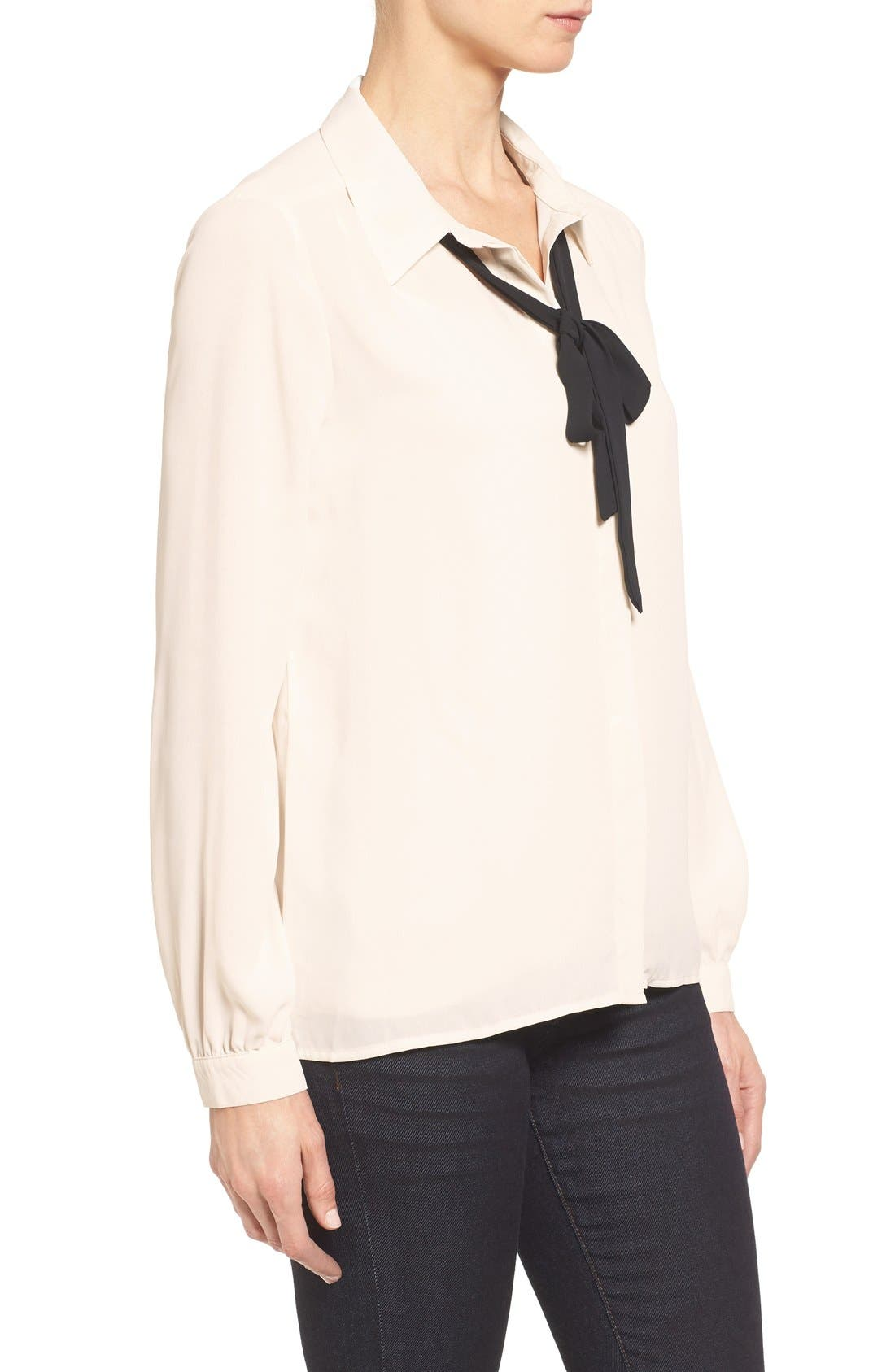 Long Sleeve Contrast Bow Blouse,                             Alternate thumbnail 3, color,                             Ivory