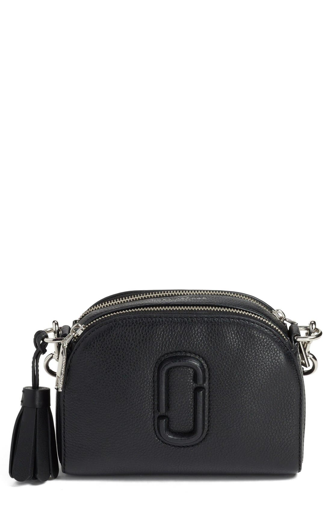 Small Shutter Leather Camera Bag,                             Main thumbnail 1, color,                             Black