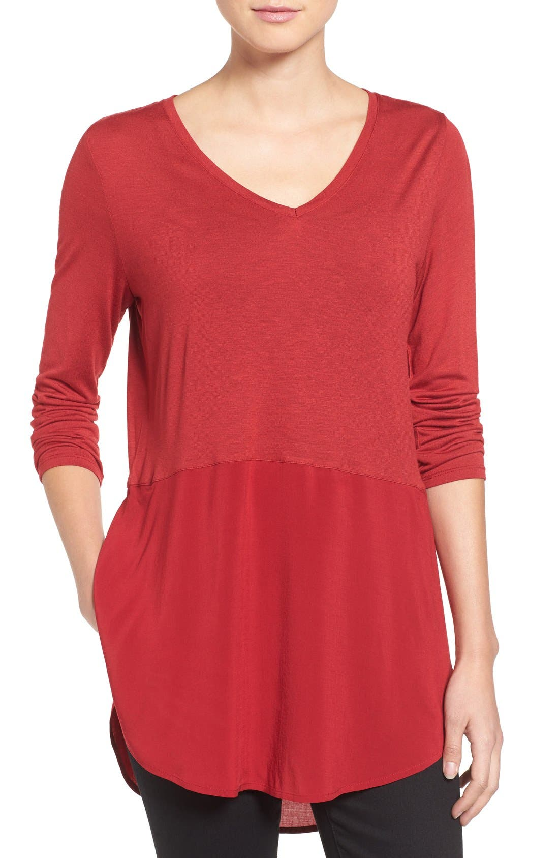 Main Image - Two by Vince Camuto Mixed Media V-Neck Tunic