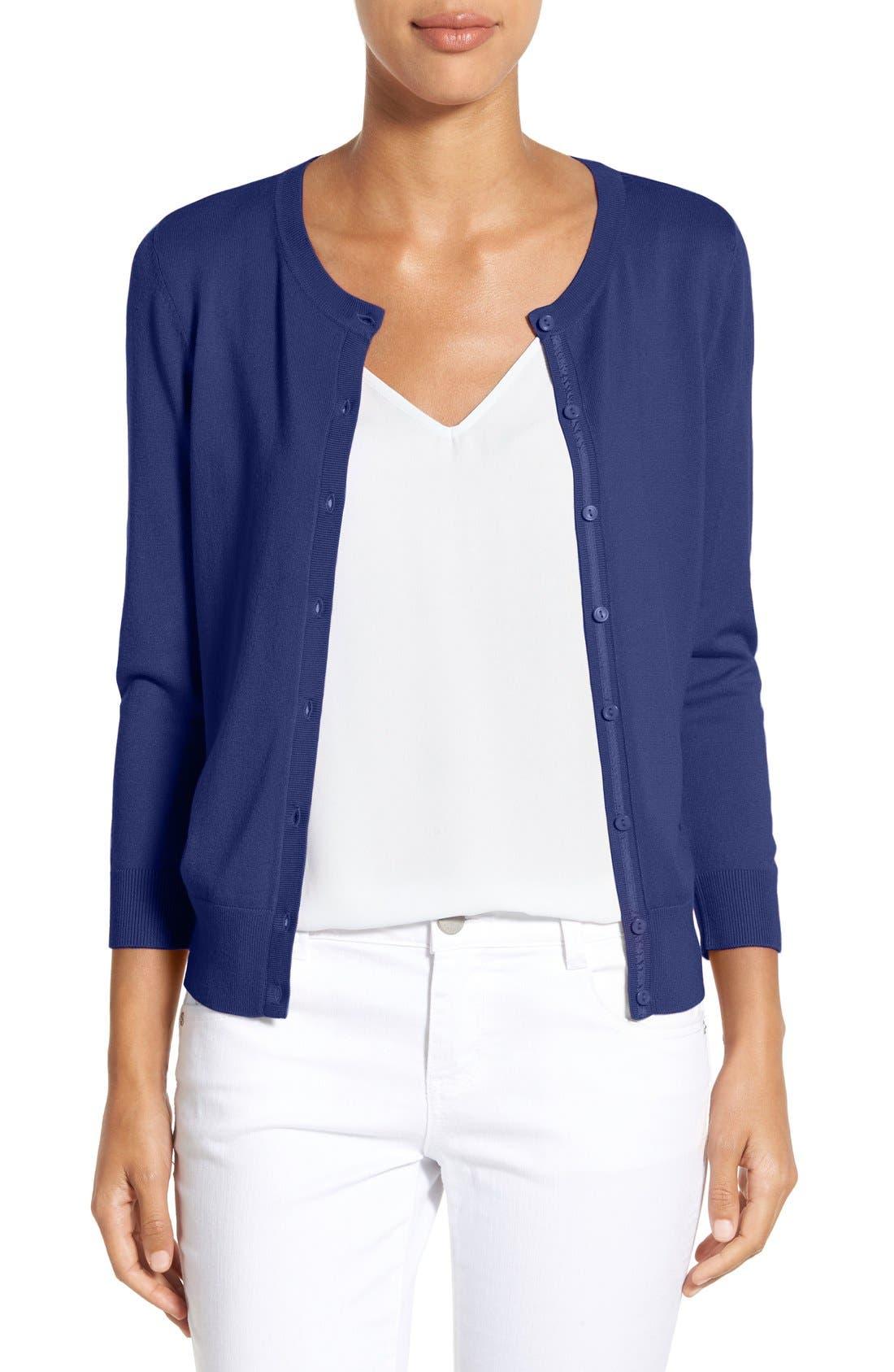 Three Quarter Sleeve Cardigan,                         Main,                         color, Navy Peacoat