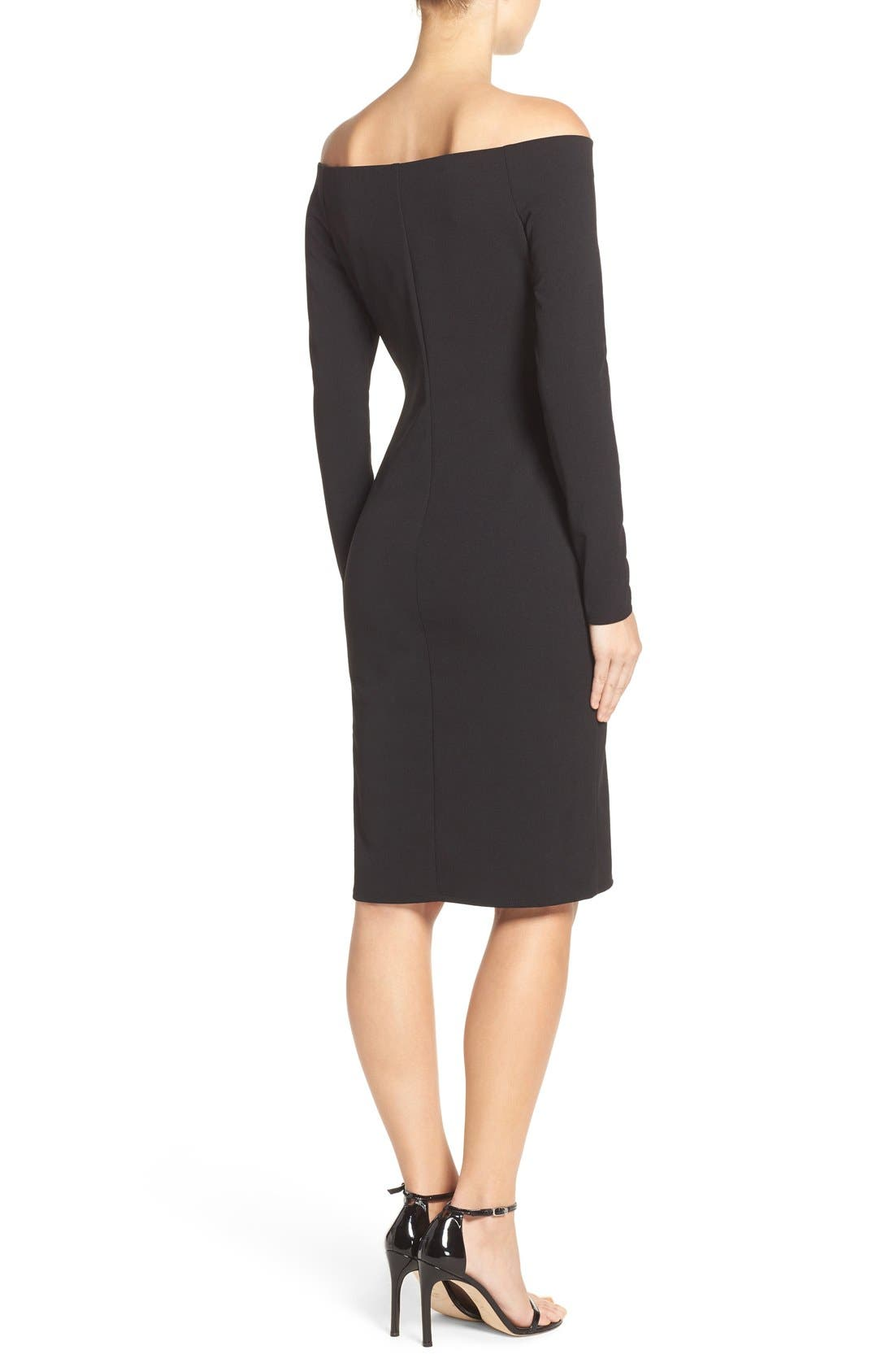 Alternate Image 2  - Eliza J Off the Shoulder Scuba Sheath Dress (Regular & Petite)