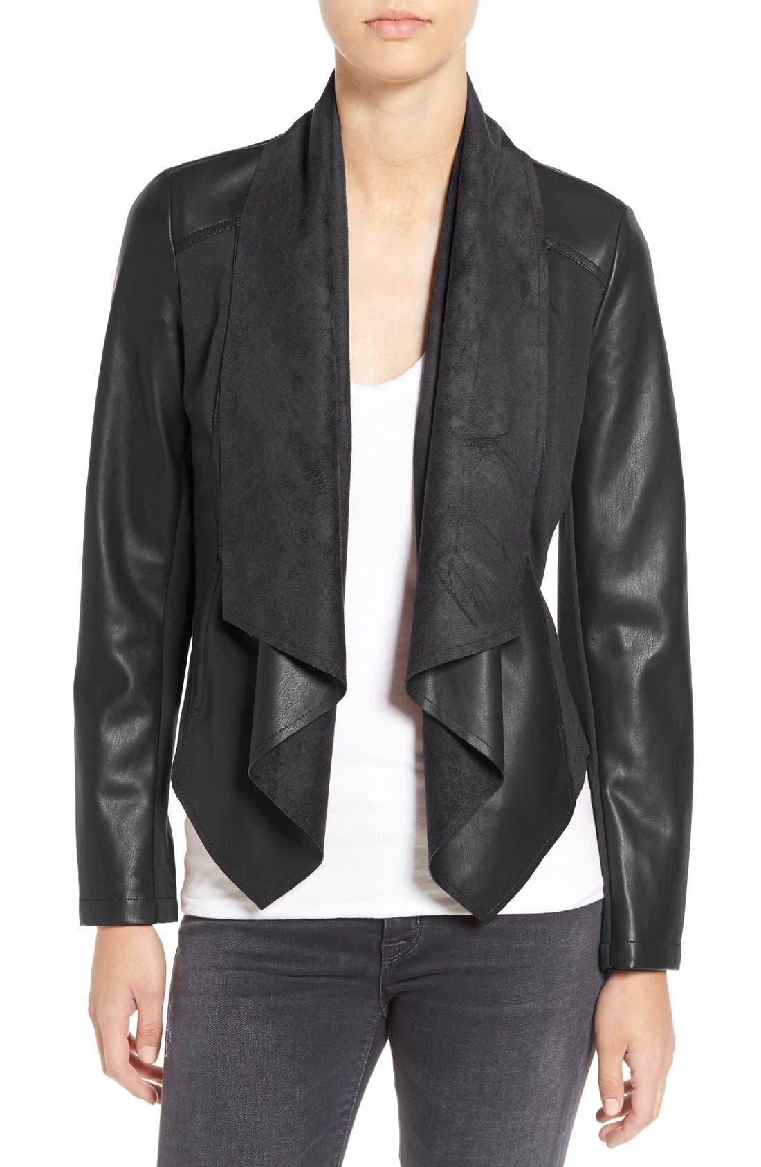 'Ana' Faux Leather Drape Front Jacket,                         Main,                         color, Black