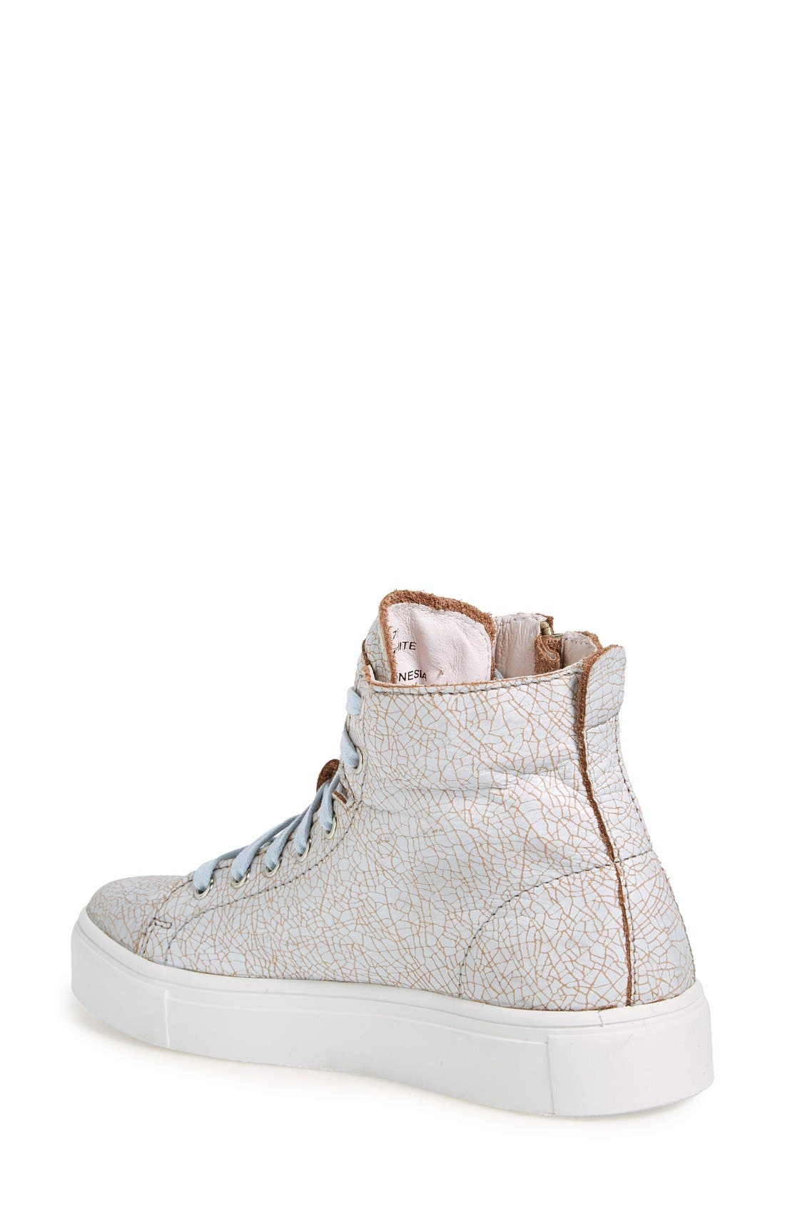 'LL78' Crackled High Top Platform Sneaker,                             Alternate thumbnail 2, color,                             Hazel/White