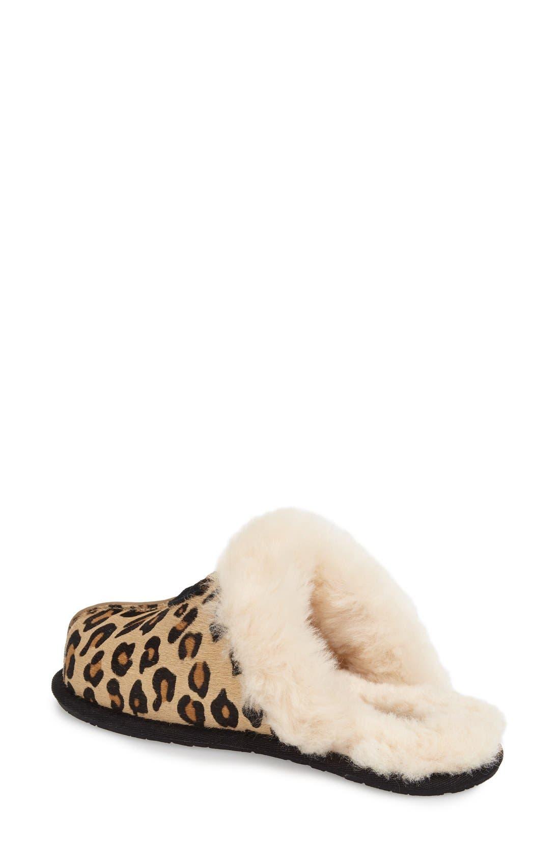 Scuffette II Leopard Spot Calf Hair Genuine Shearling Cuff Slipper,                             Alternate thumbnail 2, color,                             Leopard Calf Hair