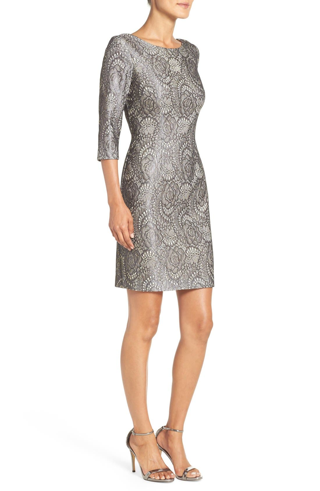 Alternate Image 3  - Eliza J Bonded Lace Sheath Dress
