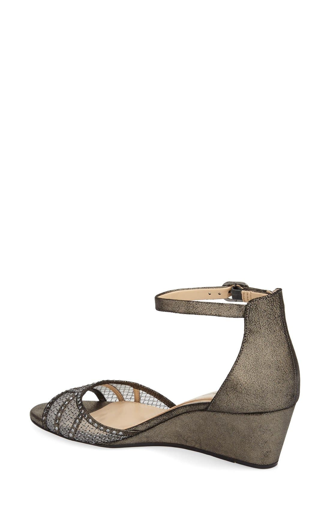 'Joan' Studded Wedge Sandal,                             Alternate thumbnail 2, color,                             Anthracite Suede