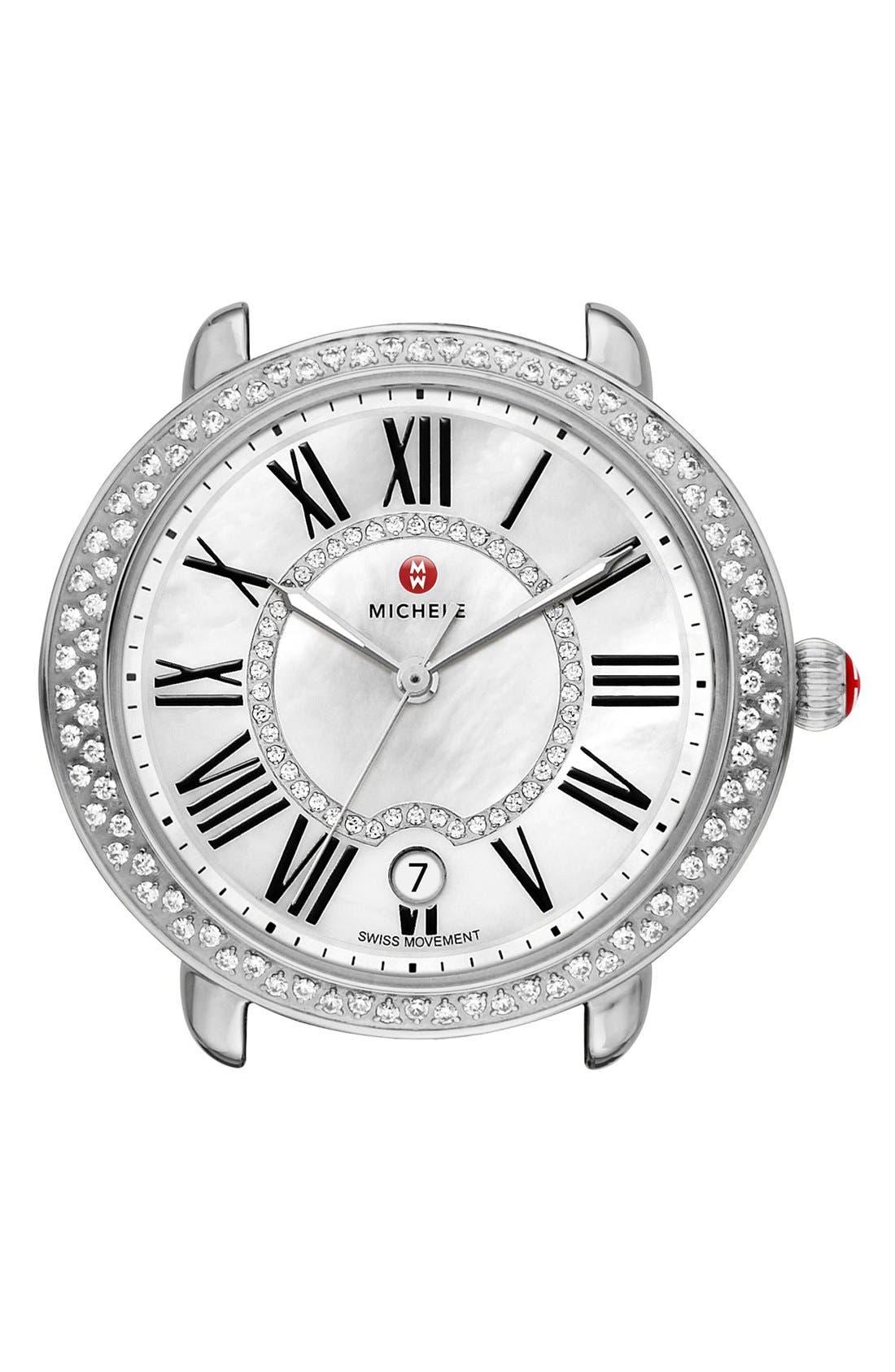 Serein 16 Diamond Watch Case, 34mm x 36mm,                             Main thumbnail 1, color,                             Silver/ White