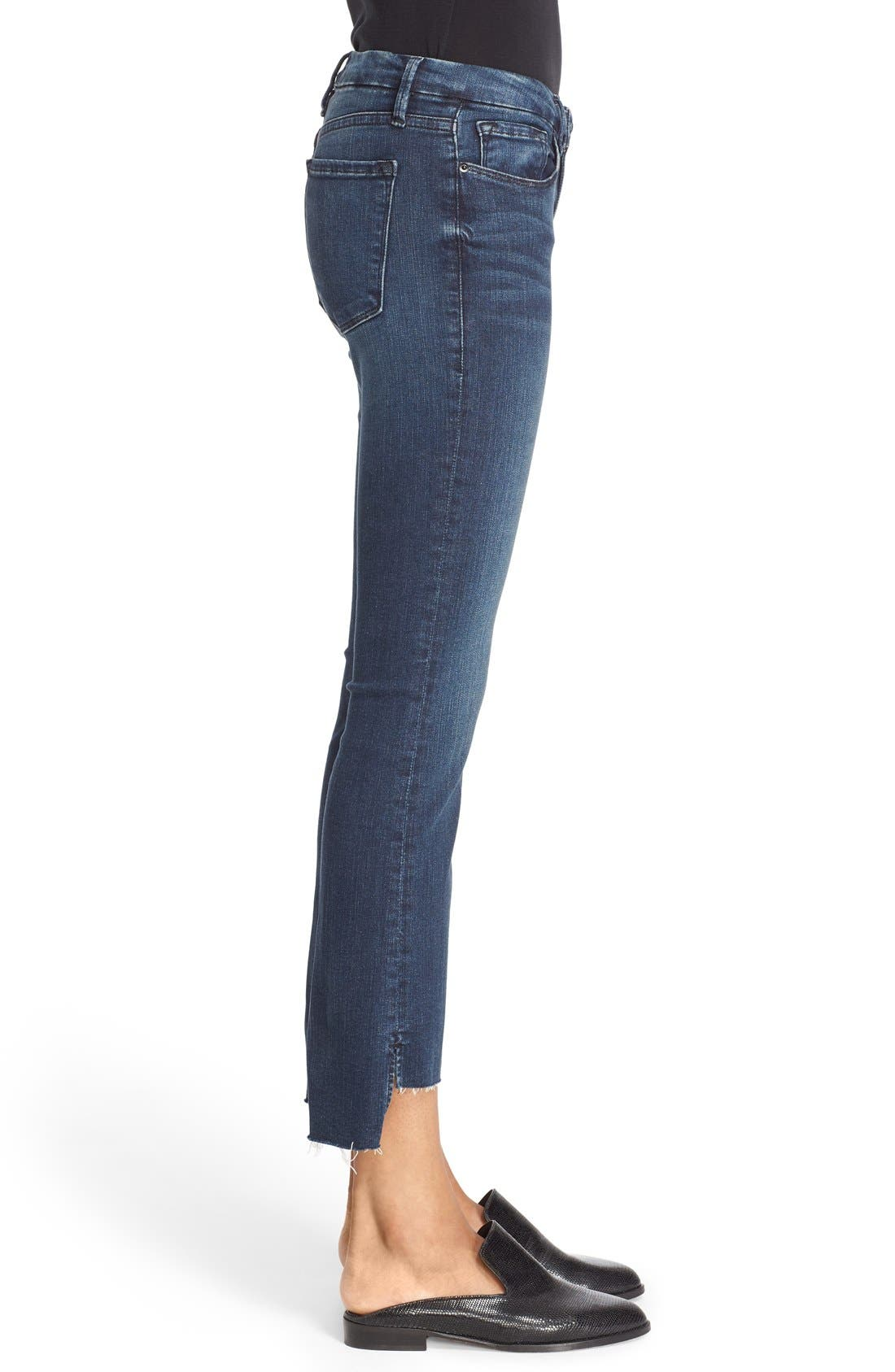 'Le Crop Mini Boot' Staggered Hem Crop Jeans,                             Alternate thumbnail 4, color,                             Topsail