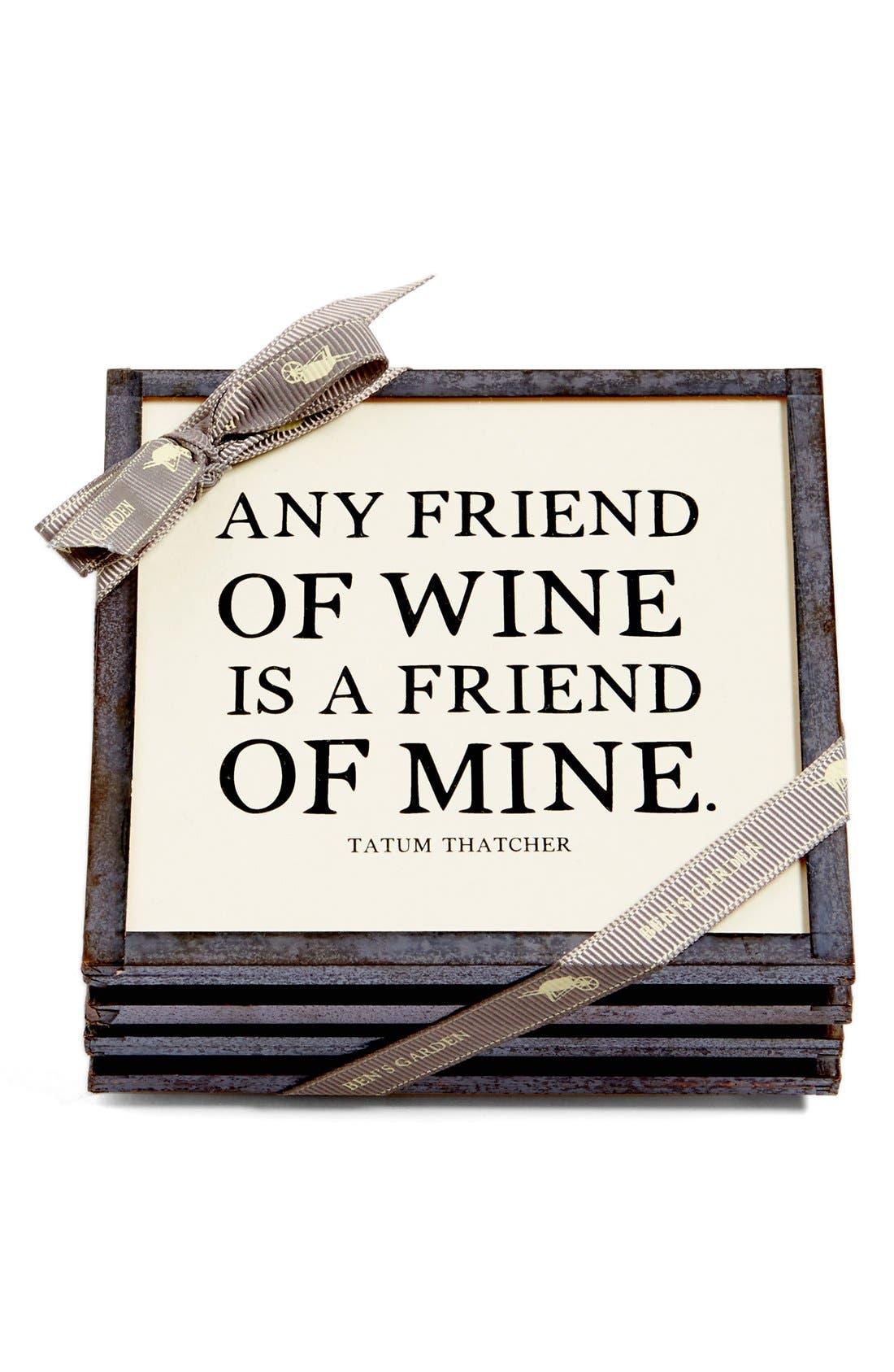Main Image - Ben's Garden 'Any Friend of Wine' Coasters (Set of 4)