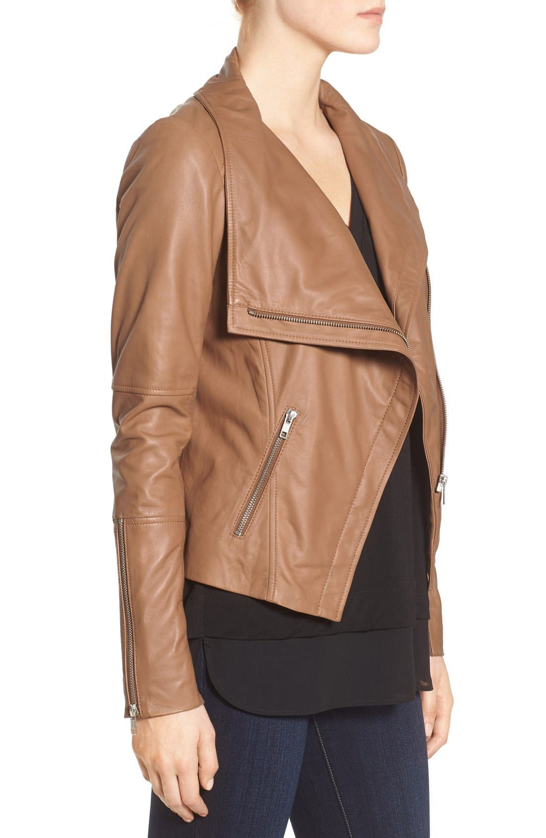 Drape Front Leather Jacket,                             Alternate thumbnail 3, color,                             Brown Saddle