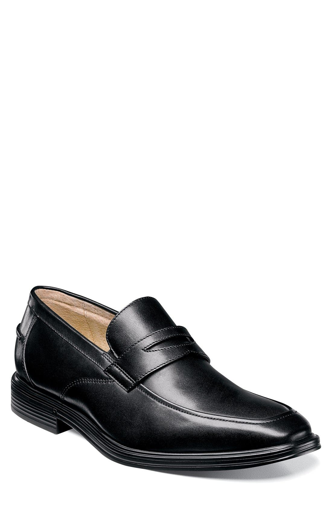 'Heights' Penny Loafer,                             Main thumbnail 1, color,                             Black Leather