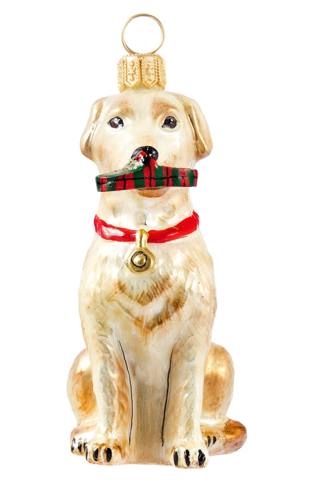 'Dog with Tartan Plaid Slipper' Ornament,                             Main thumbnail 1, color,                             Yellow Lab