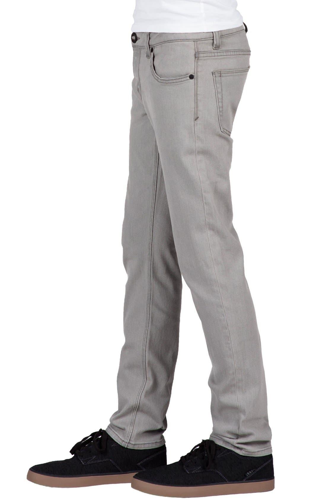 'Solver' Straight Leg Denim Jeans,                             Alternate thumbnail 3, color,                             Old Grey