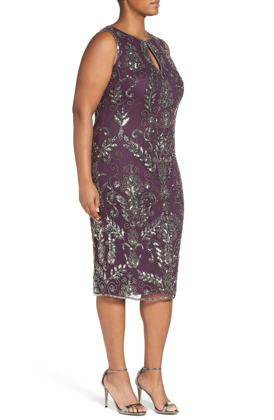 Embellished Tea Length Sheath Dress,                             Alternate thumbnail 3, color,                             Plum