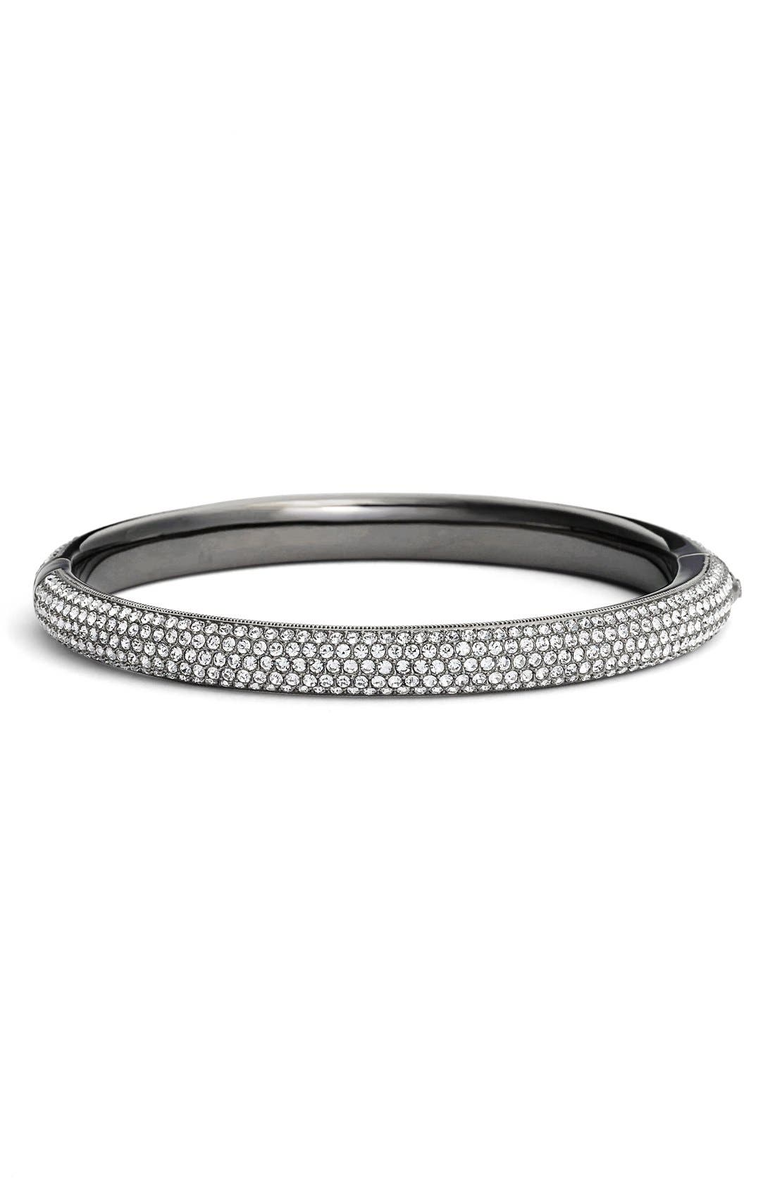 Pavé Crystal Bangle,                         Main,                         color, Black Hematite