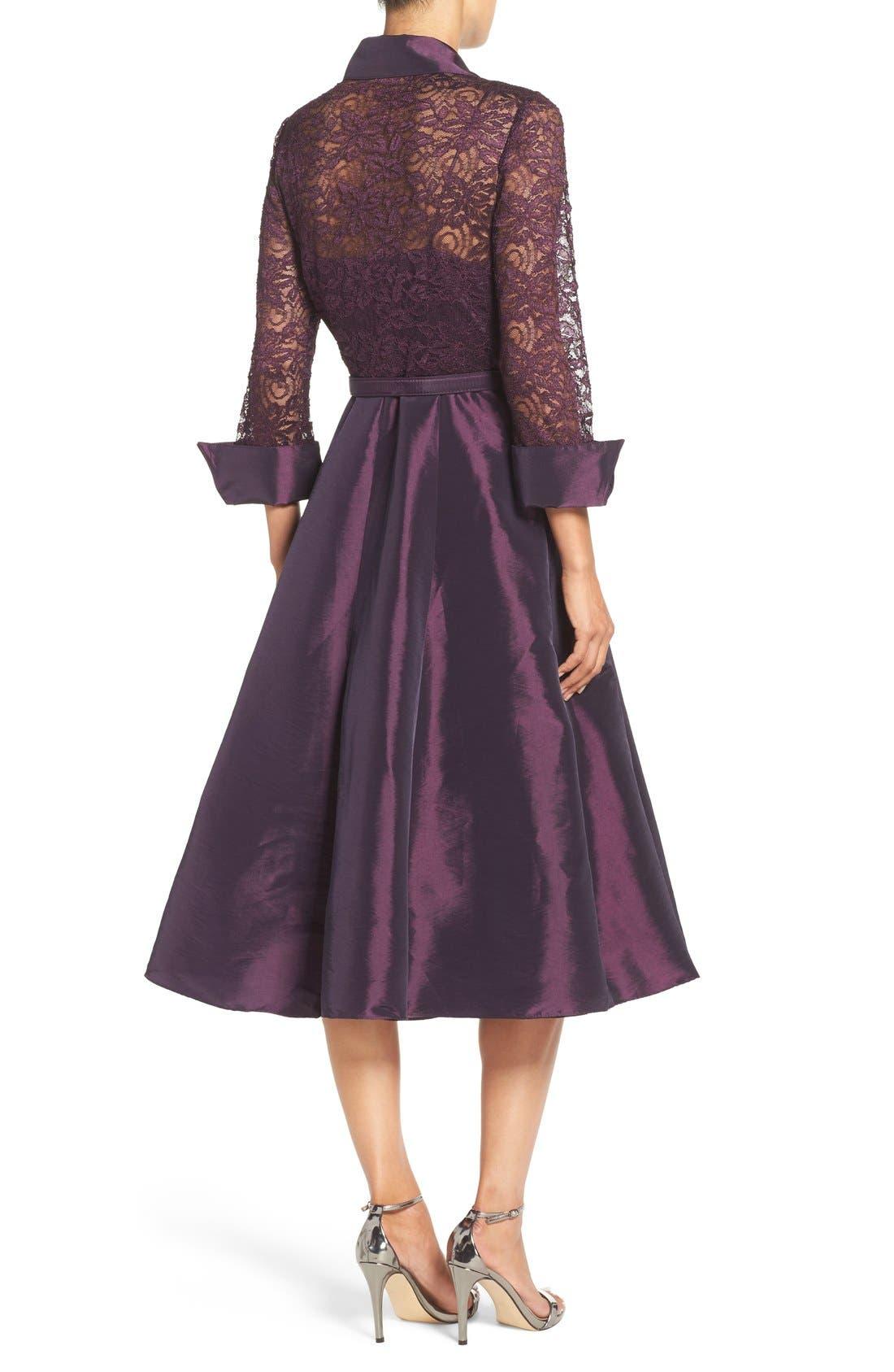 Mixed Media Fit & Flare Dress,                             Alternate thumbnail 2, color,                             Plum