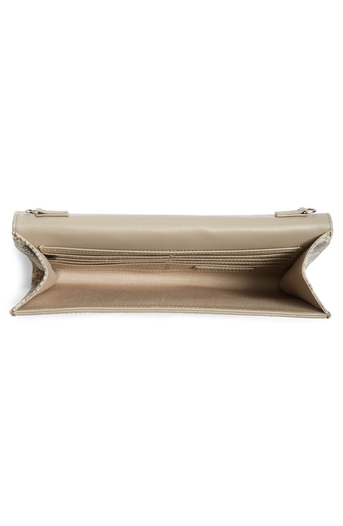 Angled Leather Day Clutch,                             Alternate thumbnail 4, color,                             Brown Falcon Snake
