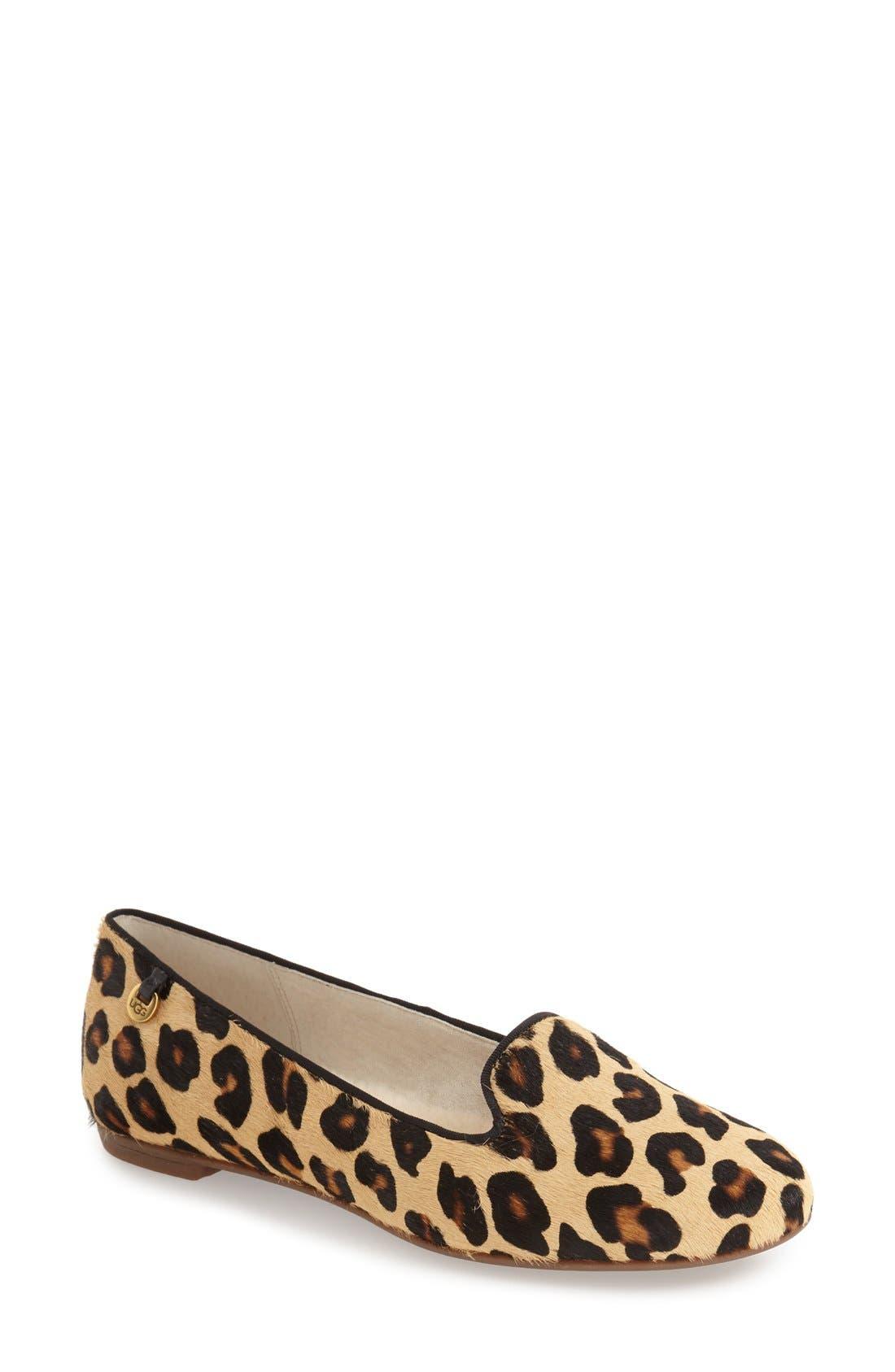Main Image - UGG® 'Blyss' Leopard Spot Calf Hair Flat (Women)