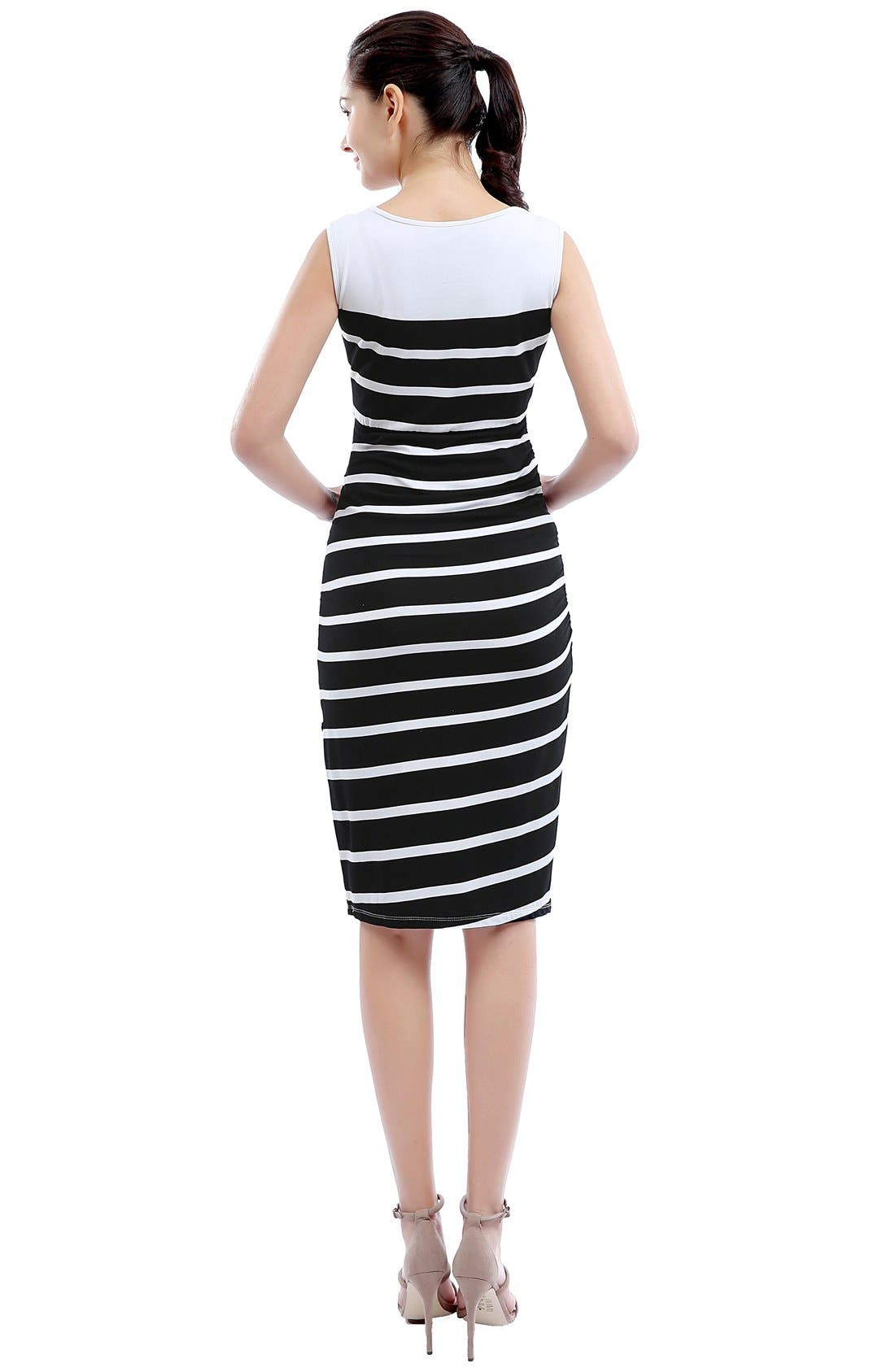 'Shea' Stripe Maternity Dress,                             Alternate thumbnail 2, color,                             Black/ White